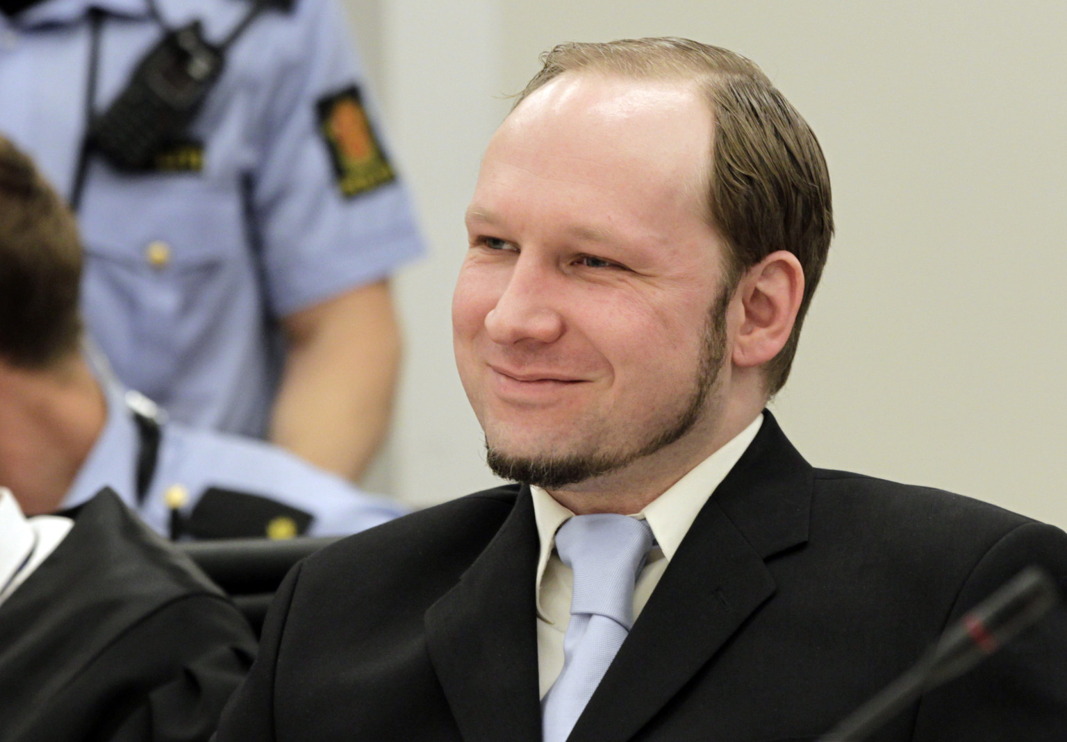 Mass killer Anders Behring Breivik smile